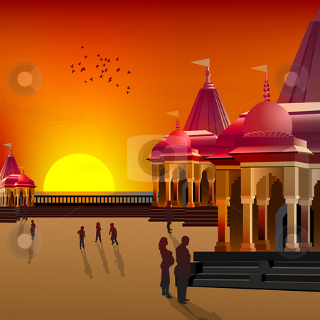 Silhouette view of temple, place of worship stock photo, Silhouette view of temple, place of worship by Abhishek Poddar