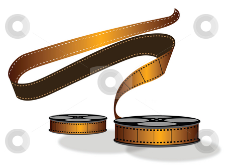 Reel stock photo, View of a camera reel with reel tape in the air by Abhishek Poddar