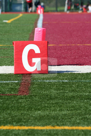 Football field goal line stock photo, A Football field goal line field level by Jim Mills