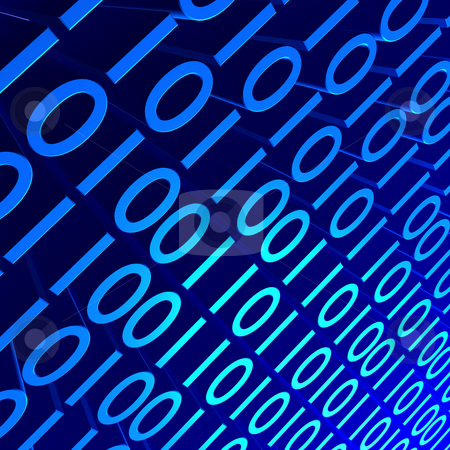 Blue Binary stock photo, 3D background image of blue binary digits. by Nelson Marques