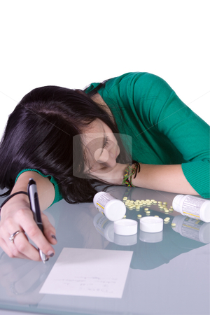 Teen Drug Problem - Overdose stock photo, Teenage Girl Doing Drugs - Overdose Death by Mehmet Dilsiz