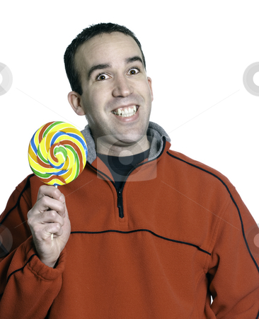 Lollipop Man stock photo, A smiling man is holding a large lollipop, isolated against a white background. by Richard Nelson