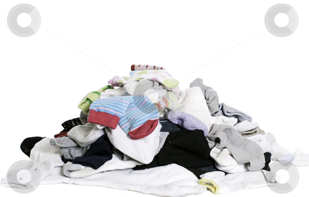 Pile of Socks stock photo, A pile of unsorted socks, isolated against a white background by Richard Nelson