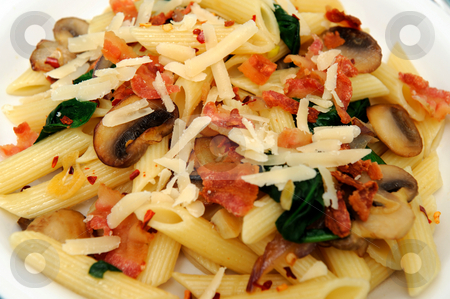 Penne Pasta And Saut?ed Spinach stock photo, Penne pasta with saut?ed mushrooms garlic and Spinach with crumbled bacon and grated parmesan cheese severed on a turquoise and white plate combination. by Lynn Bendickson