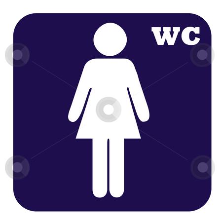 Ladies toilet button stock photo, Ladies toilet button isolated on white background. by Martin Crowdy