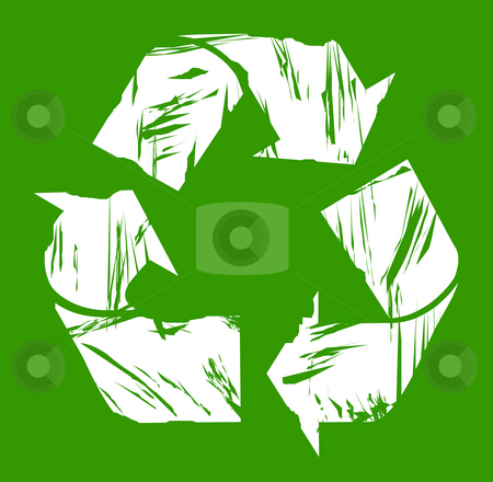 Used recycling symbol stock photo, Used white recycling symbol isolated on green background. by Martin Crowdy