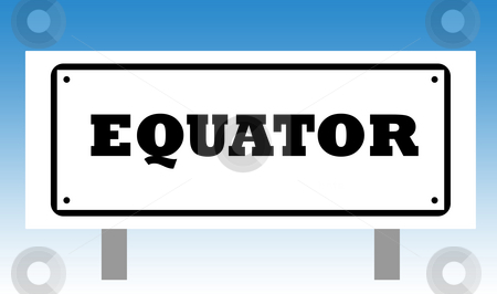 Equator Sign stock photo, Equator sign isolated with graduated blue sky background. by Martin Crowdy