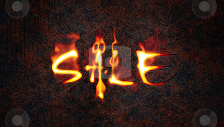 Fire sale stock photo, An illustration of the word sale in fire by Markus Gann