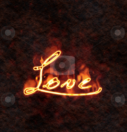 Love stock photo, An illustration of a love sign in fire by Markus Gann