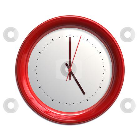 Clock stock photo, An illustration of a big red clock by Markus Gann