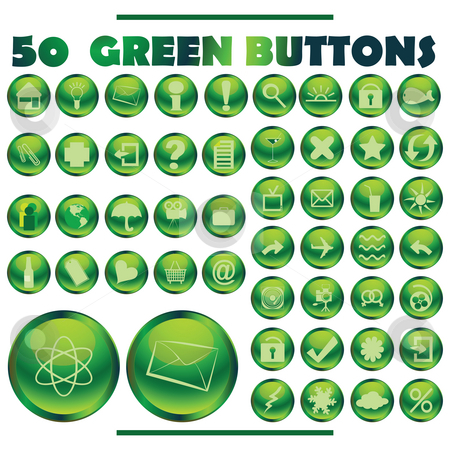 Green buttons stock photo, Web butons collection in green tones by Richard Laschon