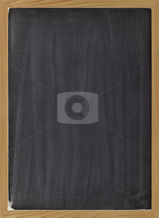 Blank blackboard sign stock photo, Blank blackboard with vertical white chalk smudges, ready to be used as a menu or other sign by Marek Uliasz