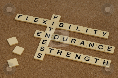 Endurance, flexibility, strength  - fitness concept stock photo, Endurance, flexibility, strength - fitness training goals concept, crossword with ivory letter blocks on cork bulleting board by Marek Uliasz