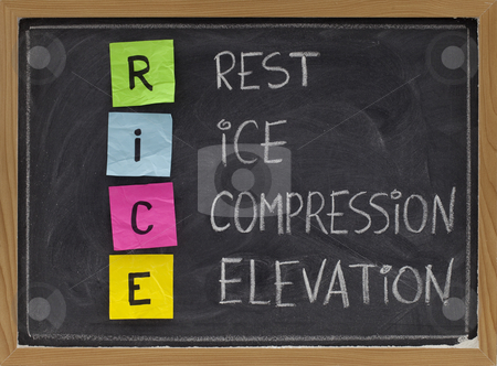Rest, Ice, Compression, Elevation - medical acronym stock photo, RICE (Rest, Ice, Compression, Elevation) - humorous medical acronym for the treatment of certain leg and foot injuries; colorful sticky notes, white chalk handwriting on blackboard by Marek Uliasz