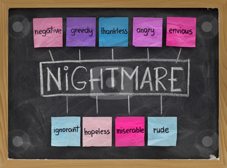 Nightmare acronym - negative emotions stock photo, NIGHTMARE (Negative, Ignorant, Greedy, Hopeless, Thankless, Miserable, Angry, Rude, Envious) acronym of negative emotion and character traits, colorful sticky notes, white chalk handwriting on blackboard by Marek Uliasz