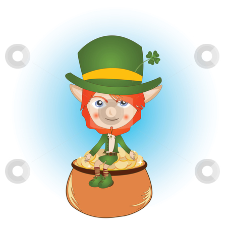 Leprechaun stock photo, Saint Patrick's Day card with leprechaun and pot of gold by Richard Laschon