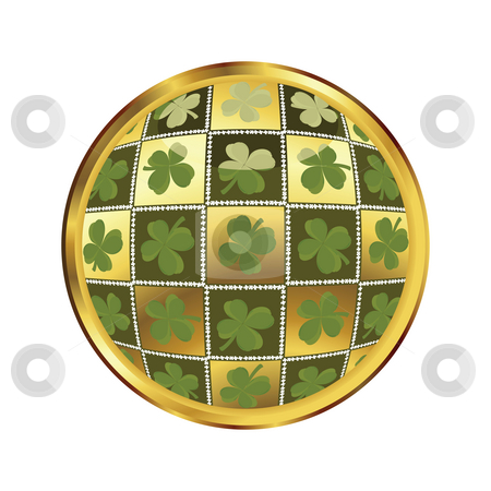 St. Patrick's day button stock photo, Glossy button with quatrefoil for st. Patrick's day by Richard Laschon