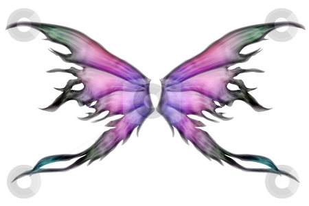 Pair of wings stock photo, Pastel colored set of fairy wings on white by Anneke