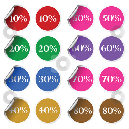 stickers stock photo, Discount stickers by Richard Laschon