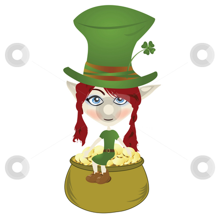 Leprechaun stock photo, Happy little Leprechaun enjoying pot of gold by Richard Laschon