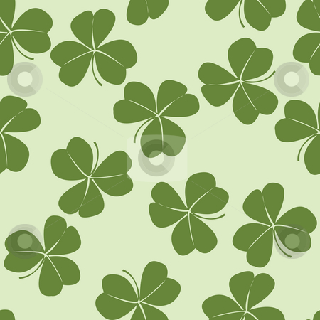 Design with clovers stock photo, Seamless design with clovers, pattern by Richard Laschon