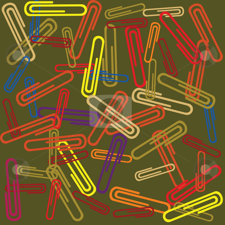 Paperclips stock photo, Seamless background with paperclips by Richard Laschon