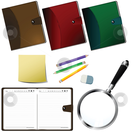 Office supplies stock photo, Office supplies set over white background by Richard Laschon