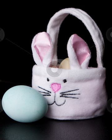 Dyed Easter Eggs In Basket stock photo, Dyed Pastel Easter Eggs in a Bunny Basket by Sharon Arnoldi