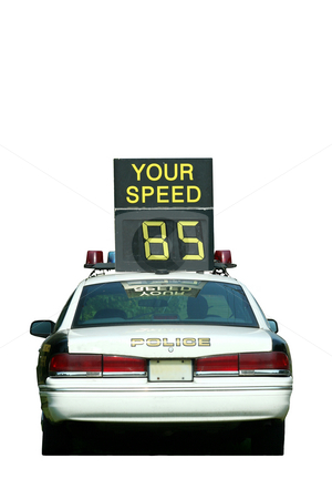 Police Car Speed Check stock photo, Isolated Police Car Speed Check on white background by Jim Mills