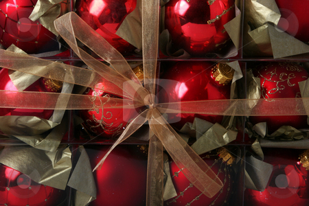 Christmas decorations stock photo, Christmas background with beautiful old fashioned christmas decorations wrapped in a box by Jon Helgason