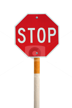 Isolated stop sign with cigarette post stock photo, Stop smoking stop sign and cigarette concept by Jim Mills