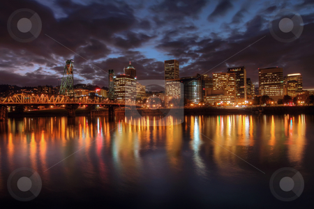 Portland Downtown Skyline at Night stock photo, Portland Downtown Skyline at Night from Eastbank Esplanade by Thye Gn