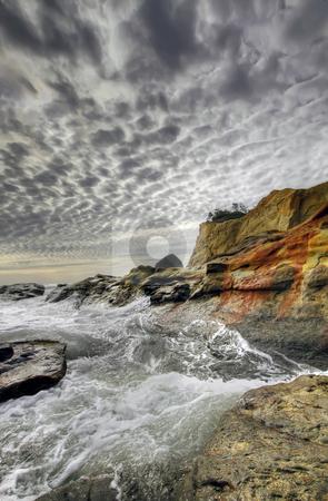 Crashing Waves at Cape Kiwanda stock photo, Crashing Waves at Cape Kiwanda and Haystack Rock by Thye Gn