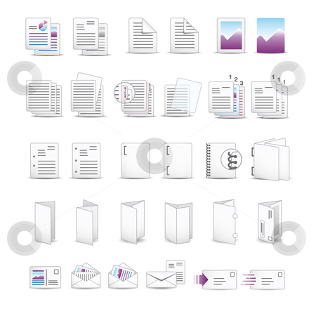 Printing Icons stock vector clipart, Icon set for printing utilities. -eps8- by Diego Alies