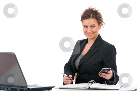 Businesswoman in office stock photo, Young business woman working in office with laptop by Marcel Paschertz
