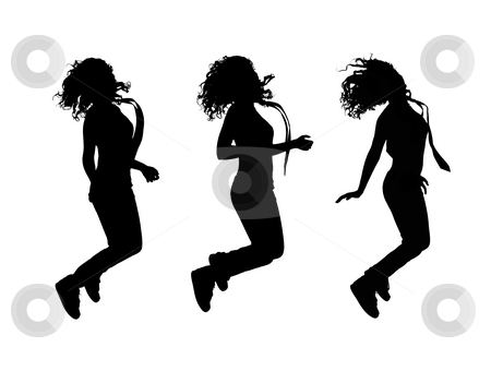Girl jumping stock photo, Girl jumping silhouettes, isolations on white background by Nikola Spasenoski