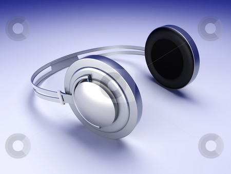 Headphones stock photo, 3D rendered Illustration. Chrome / Silver Headphones. by Michael Osterrieder