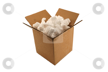 Isolated open cardboard box with packing peanuts stock photo, A Isolated open cardboard box with packing peanuts by Jim Mills