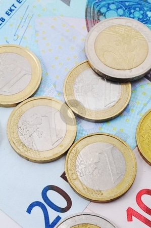 Euro money stock photo, Euro money background with coins and bills by Gunnar Pippel