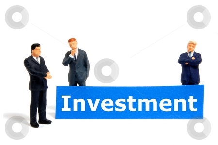 Investment stock photo, Business investment concept with tiny toy businessman isolated on white by Gunnar Pippel