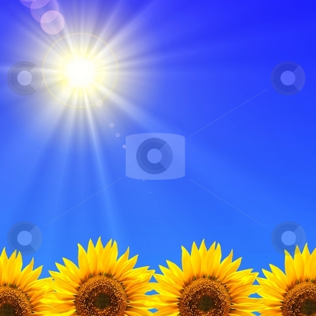 Summer holidays stock photo, Summer holidays or vacation concept with blue sky and sunflowers by Gunnar Pippel