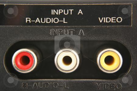 Audio video input jacks stock photo, Audio video input jacks macro by Jim Mills