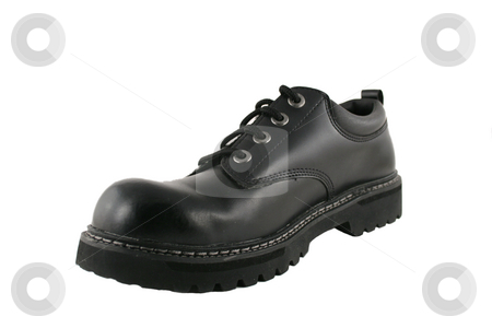 Black Mens Shoe stock photo, A Black Mens Shoe isolated on white by Jim Mills