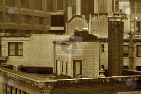 Sepia roof top stock photo, Sepia image of roof top of old building in boston by Stephen Orsillo