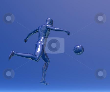 Soccer stock photo, Chrome man figure plays soccer - 3d illustration by J?