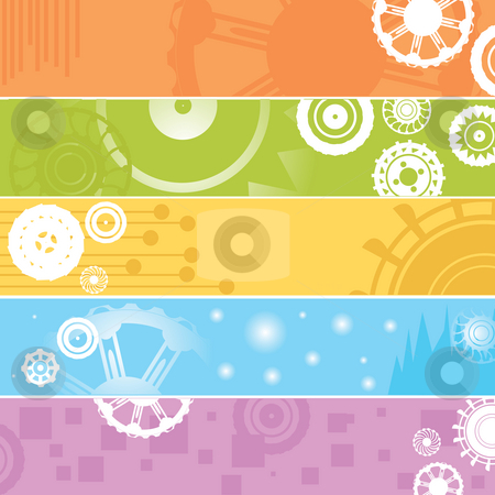 web banners, gears stock photo, Highly detailed background with industrial banners in various colors by Richard Laschon