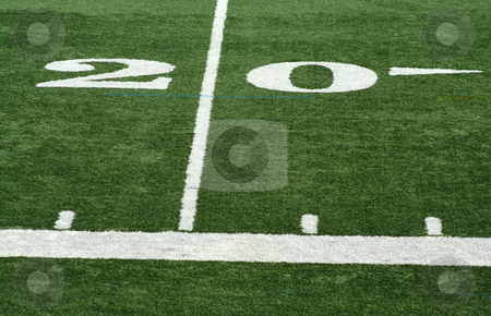 Football twenty yard marker stock photo, A white Football twenty yard marker by Jim Mills