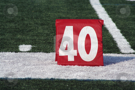 Football forty yard marker stock photo, A red Football forty yard marker by Jim Mills