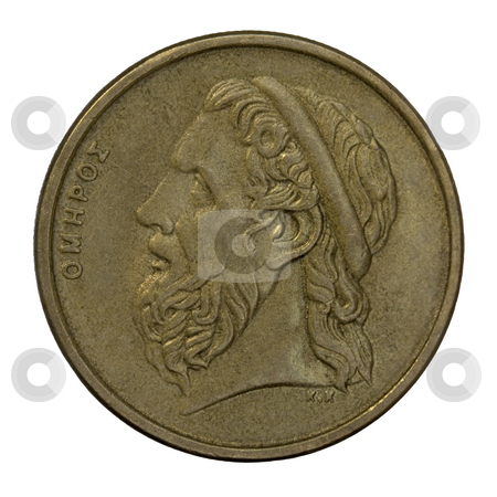 Homer, ancient Greek poet stock photo, Portrait of Homer, legendary ancient Greek epic poet, author of the Iliad and the Odyssey, 50 drachma circulated coin from 1988 (copper with alumnium and nickel) by Marek Uliasz