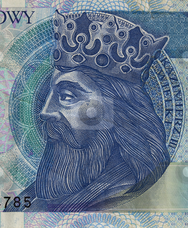 Polish medieval king on banknote stock photo, Portrait of King Kazimierz (Casimir) III The Great (14th century), one of the greatest Polish monarchs, a detail of 50 zloty (PLN) used banknote from Poland by Marek Uliasz